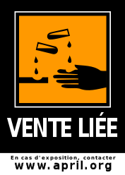 sticker Vente liée : en cas d'exposition contacter l'April